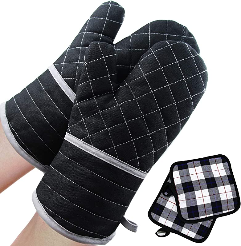 SANXIA Oven Mitts 4PCS Heat Resistant Oven Gloves And Pot Holders Soft Cotton Lining With Non Slip Surface For Safe BBQ Cooking Baking Grilling Black