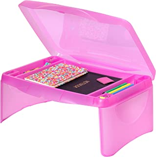 Best Choice Products Folding Lap Desk for Laptops, Food, Work, w/Open Face Storage Compartment, Pink