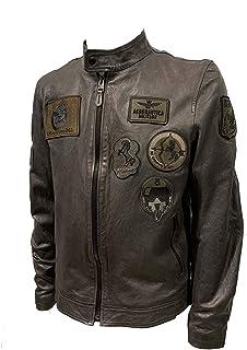 Aeronautica Militare Chaqueta de piel PN5011PL con parches para hombre, color marrón ahumado, piloto, chaqueta, chaqueta