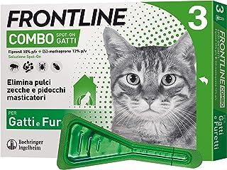 Frontline Combo, 3 Pipette, Antiparassitario per Gatti, Gattini e Furetti di Lunga Durata, Protegge da Pulci, Zecche, Uova...