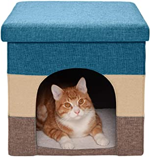 Furhaven Pet Dog & Cat House | Ottoman Footstool Collapsible Living Room Pet House Condo for Cats & Small Dogs, Beach Hous...