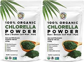 Earth Circle Organics - Certified Organic Chlorella Superfood Powder, Non-GMO Verified, Kosher, Cold Pressed, Broken Cell Wall, Vegan, High in Protein, Fiber & Amino Acids (2 Pack)