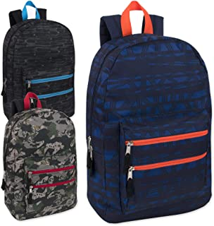 New Wholesale 18 Inch Graphic Backpacks With Double Front Pocket in Bulk 24 Packs (Boys 3 Color Assorted)