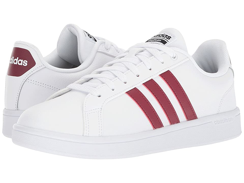 adidas Cloudfoam Advantage Stripes (White/Burgundy Leather) Men