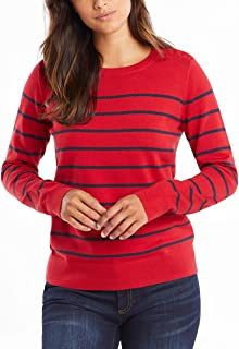 NAUTICA Womens 9301ZS Year-Round Long Sleeve100% Cotton Striped Crewneck Sweater Long Sleeve Sweater - red - X-Small