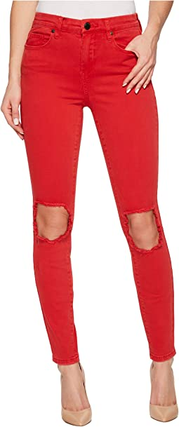 Mid-Rise Distressed Skinny in Better Off-Red