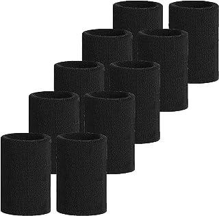 Meta-U, 5 Pares Comercio al por Mayor Negro Suave Espesar algodón Muñequeras
