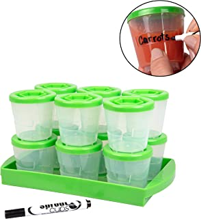 Baby Reusable & Stackable Food Containers (12 Pack) - 2oz Green Leakproof Cups w/Airtight Lids, Freezer Storage Tray, Dry-Erase Marker - Microwave & Dishwasher Safe - BPA/PVC Free
