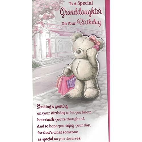 Granddaughter Birthday Card Cute Shopping Bear Presents Quality Slim