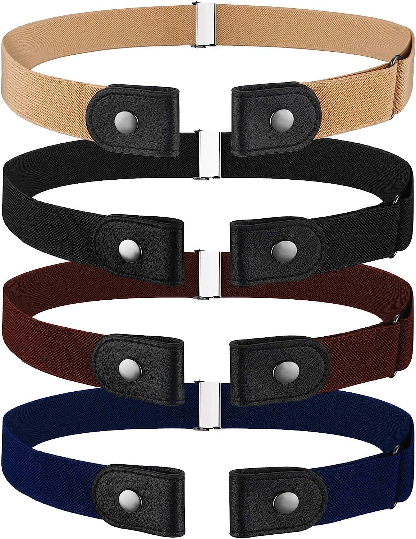 4 Pieces No Buckle Stretch Belt Adjustable Unisex Belt Invisible Elastic Belt for Men Women Jeans Pants Skirts
