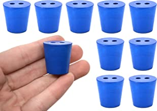 Neoprene Stopper ASTM, 2 Holes - Blue, Size #3-18mm Bottom, 24mm Top, 25mm Length - Pack of 10 - Eisco Labs