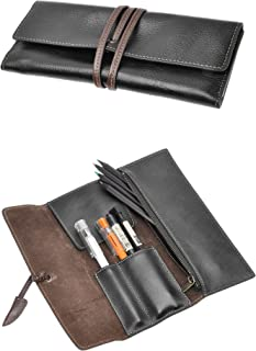 ZLYC Handmade Leather Pen Case Pencil Holder Soft Roll Wrap Bag Pouch Stationery Gift (Black)