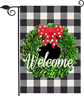 Black and White Check Garland Garden Flag Vertical Double Sided 12.5 x 18 Inch Farmhouse Christmas Winter Holiday Burlap Y...