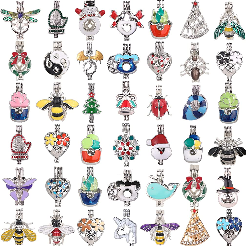 20pcs Mixed New Enamel and Crystal Set Process Potted Style Pearl Cage Pendant Cage for Pearl Essential Oil Scent Diffuser Pendant Necklace Jewelry Making Supplies