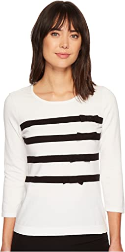 CeCe - Long Sleeve Striped Pullover Sweater w/ Bows