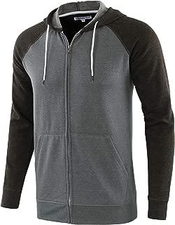 Men's Athletic Fit Full Zip Fleece Hooded Sweatshirt Active Hoodie