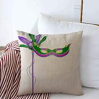 Starolal Throw Pillows Cover 18 x 18 Inches Face Ornate Carnival Italian Rio Mardi Gras Mask White Holidays Masquerade Feather Party Camouflage Cushion Case Cotton Linen for Fall Home Decor