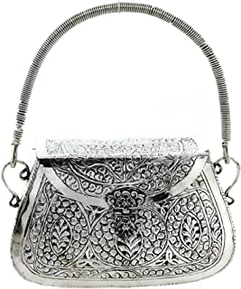 Trend Overseas Silver Party Bridal Box Clutches for women Ethnic Brass Metal Handle Bag Metal clutch