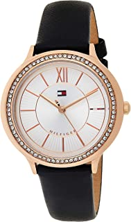 Tommy Hilfiger Women's Quartz Watch, Analog Display and Leather Strap 1781853, Black Band