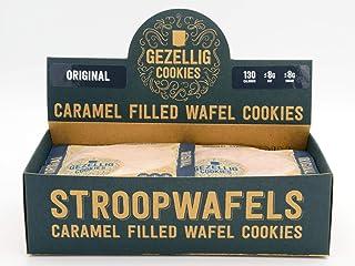 Gezellig Cookies Caramel Filled Wafel Cookies (Original Stroopwafels) - Box of 16 Individually Wrapped Dutch Cookies