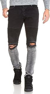 4cd9a9c2fa BLZ Jeans - Jean Homme Fashion Noir Gris troué aux Genoux