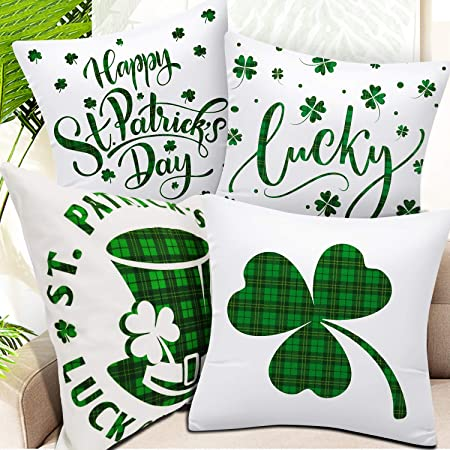 Rat Terrier Shamrock Delivery Pillow Cover ~ St Patrick/'s Day Buffalo Plaid 18 x 18 ~Cover Only