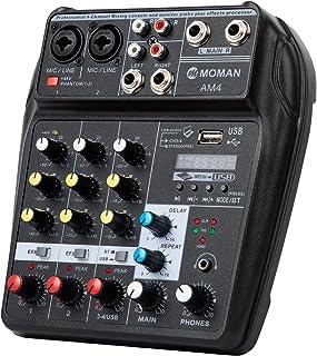 Table-Mixage-Audio-USB-Bluetooth, Moman AM4 Mélangeur de 4 canaux Entrée Mono Stéréo Alimentation Fantôme 48V pour l'Accor...