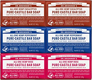 Dr. Bronner's - Pure-Castile Bar Soap (5 Ounce Variety Gift Pack) Eucalyptus, Peppermint, Rose - Made with Organic Oils, For Face, Body and Hair, Gentle and Moisturizing