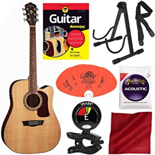 Washburn Heritage Series HD10SCE Acoustic-Electric Cutaway Dreadnought Guitar with Guitar for Dummies, Lightweight Stable Guitar Stand, Picks, Strings, and Deluxe Starter Pack Accessory Bundle