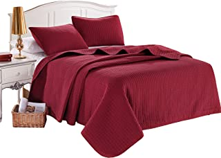 Twin Burgundy Solid Color Box Stitch Quilted Bedspread Coverlet 68 by 86 inches plus 2 Standard Shams 20 by 26 inch Hypoallergenic Reversible Bed Cover for Homes,Hotels,Motels, Rentals 4 lbs