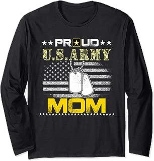 Vintage Proud Mom U.S.Army Veteran Flag Gift Long Sleeve T-Shirt