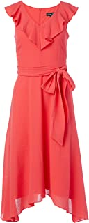 Jessica Howard womens Ruffle V Neck Fit and Flare Dress with Flounce Hem and Tie Sash Casual Dress