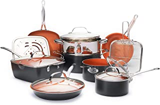 Gotham Steel Ultimate 15 Piece All in One Chef's Kitchen Set with Non-Stick Ti-Cerama Copper Coating – Includes Skillets, Stock Pots, Deep Fry Basket and Shallow Square Pan