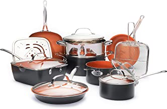 Gotham Steel Ultimate 15 Piece All in One Chef's Kitchen Set Copper Coating – Includes Skillets, Stock Pots, Deep Square P...