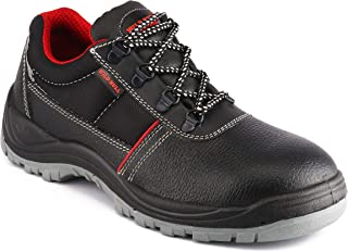 WILD BULL Men's Leather Safety Shoes Derby Length Thunder Steel Plate Black - 9 UK