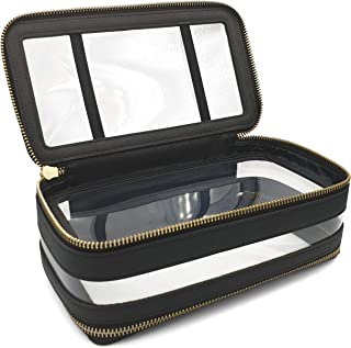2 Compartment Premium TSA Approved Genuine Saffiano Leather and PVC Toiletry Bag/Cosmetic Case (8.5 x 4.75 x 3 inches) - Black