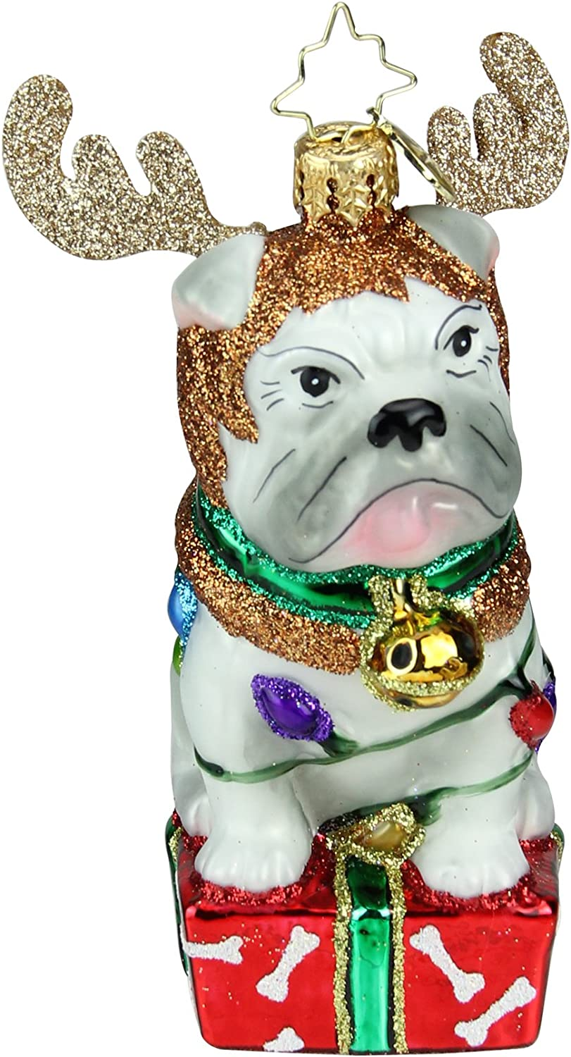 Christopher Radko Deer Little Bull Dog Christmas Ornament