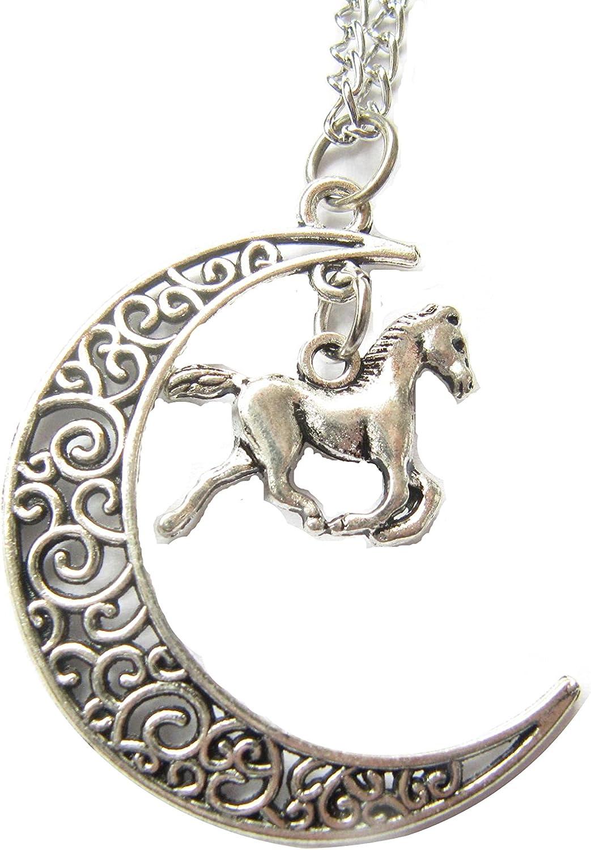 Collar antiguo de plata con luna y pegaso, collar de luna creciente, collar de caballo alado, collar mítico