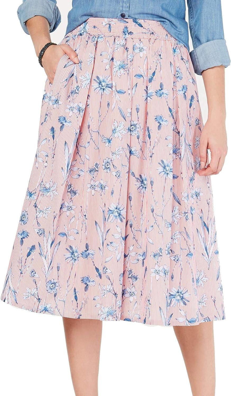 Tommy Hilfiger Womens Skirt Medium A-Line Stripe Floral Midi Red M