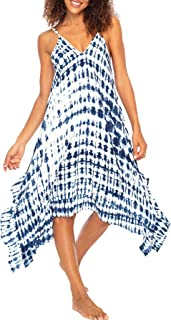 Back From Bali Womens Boho Summer Beach Dress Tie Dye Swimsuit Bathing Suit Cover Up Spaghetti Strap V-Neck Rayon