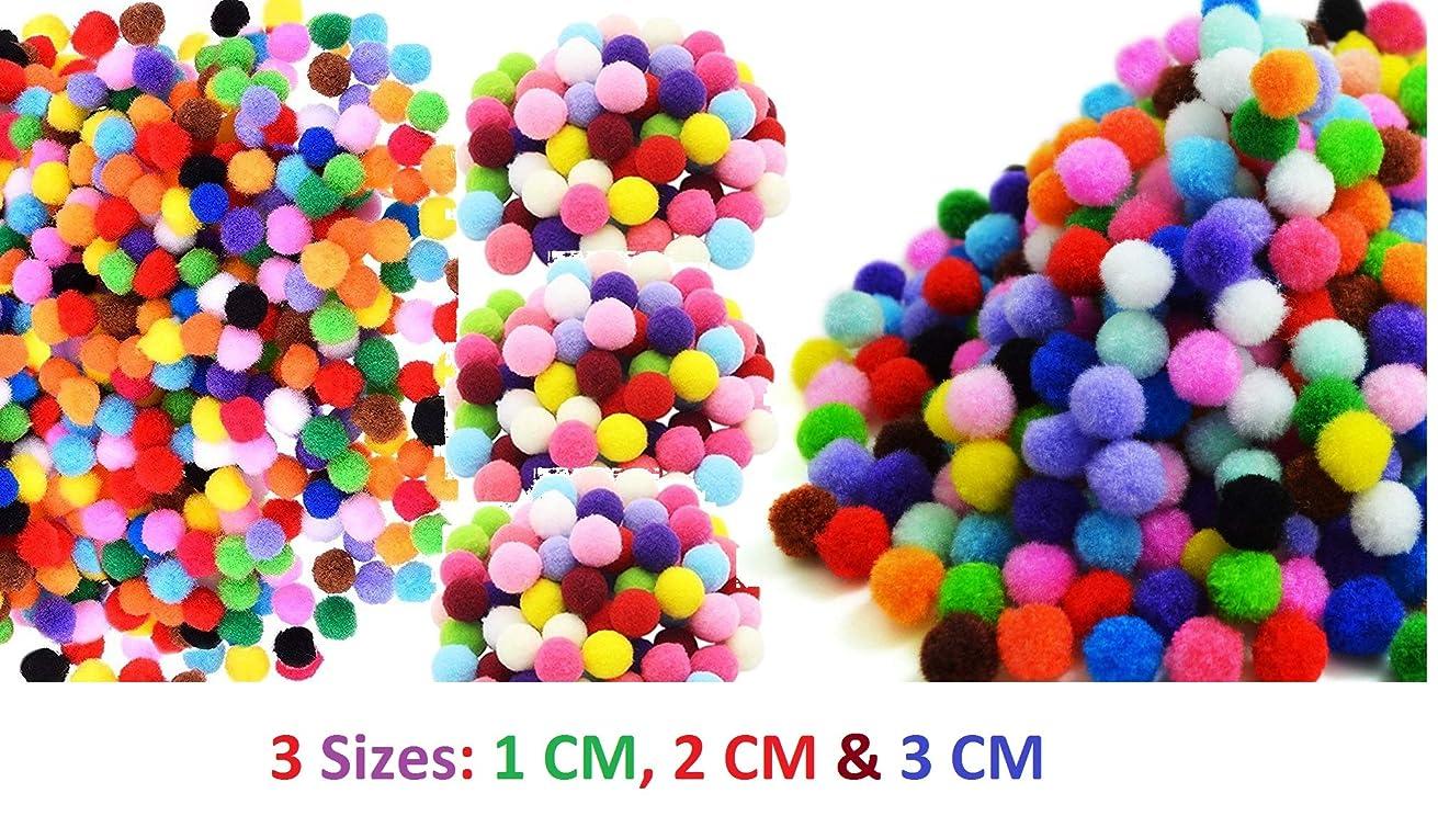 285 Pieces Multicolored Pom Poms Pompoms Craft (3 Sizes: 1cm, 2cm, 3cm) Ideal for Craft & Hobby Supplies