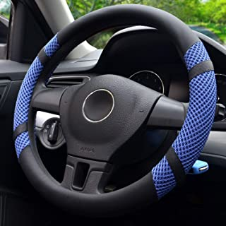 BOKIN Steering Wheel Cover Microfiber Leather and Viscose, Breathable, Anti-Slip, Odorless, Warm in Winter and Cool in Summer, Universal 15 Inches (Blue)