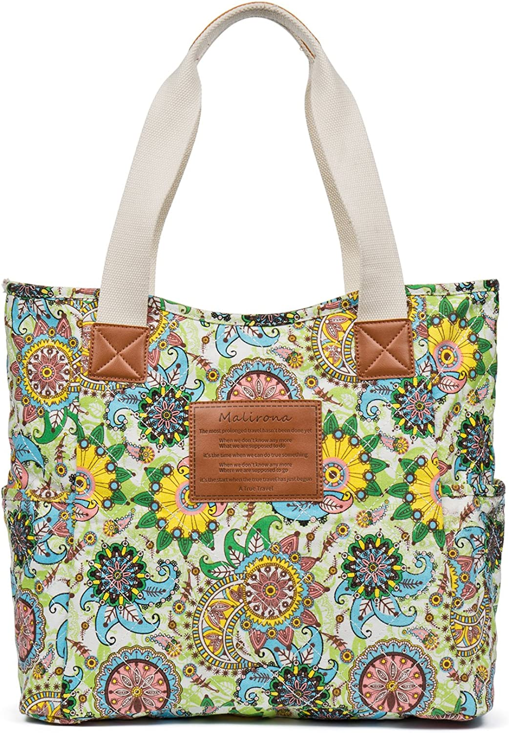 Malirona Canvas Beach Bags and Totes for Women Zippered Beach Shoulder Bag Green Flower