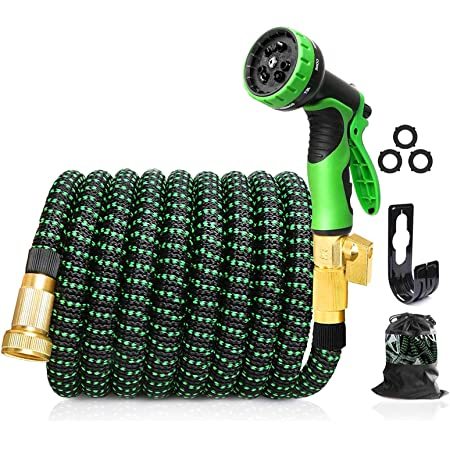 """Upgraded Expandable Garden Hose25/50 FT, 3/4"""" Solid Brass Connectors, 10 Function Spray Hose Nozzle, Leak Proof and Lightweight Retractable Water Hose (50 FT)"""