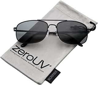 Classic Metal Crossbar Spring Loaded Hinges Square Lens Aviator Sunglasses 55mm