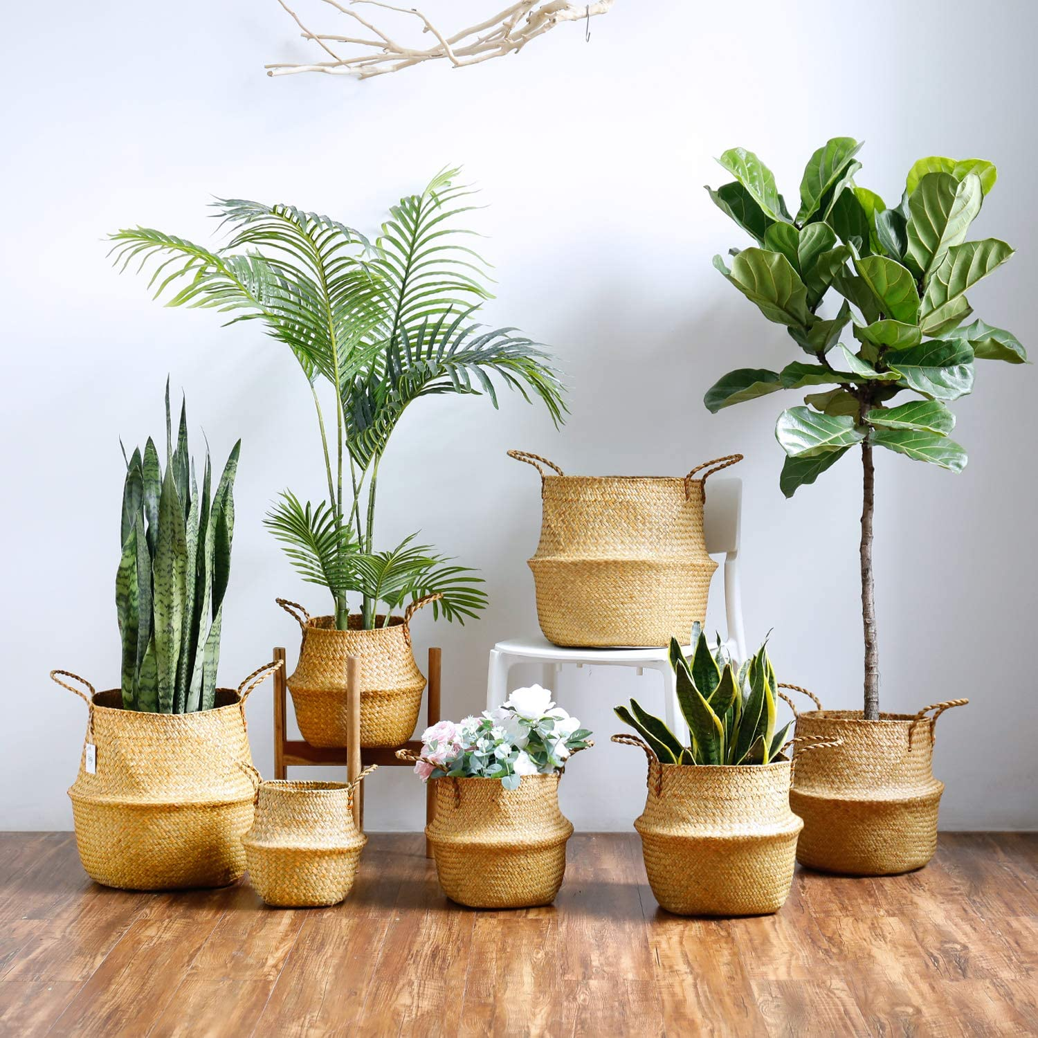 Middle Storage Laundry Plant Pot Cover Home Decor and Woven Straw Beach Bag Picnic Set of 2 Middle, Original+Black Hand Woven Belly Basket with Handles POTEY 720501 Seagrass Plant Basket