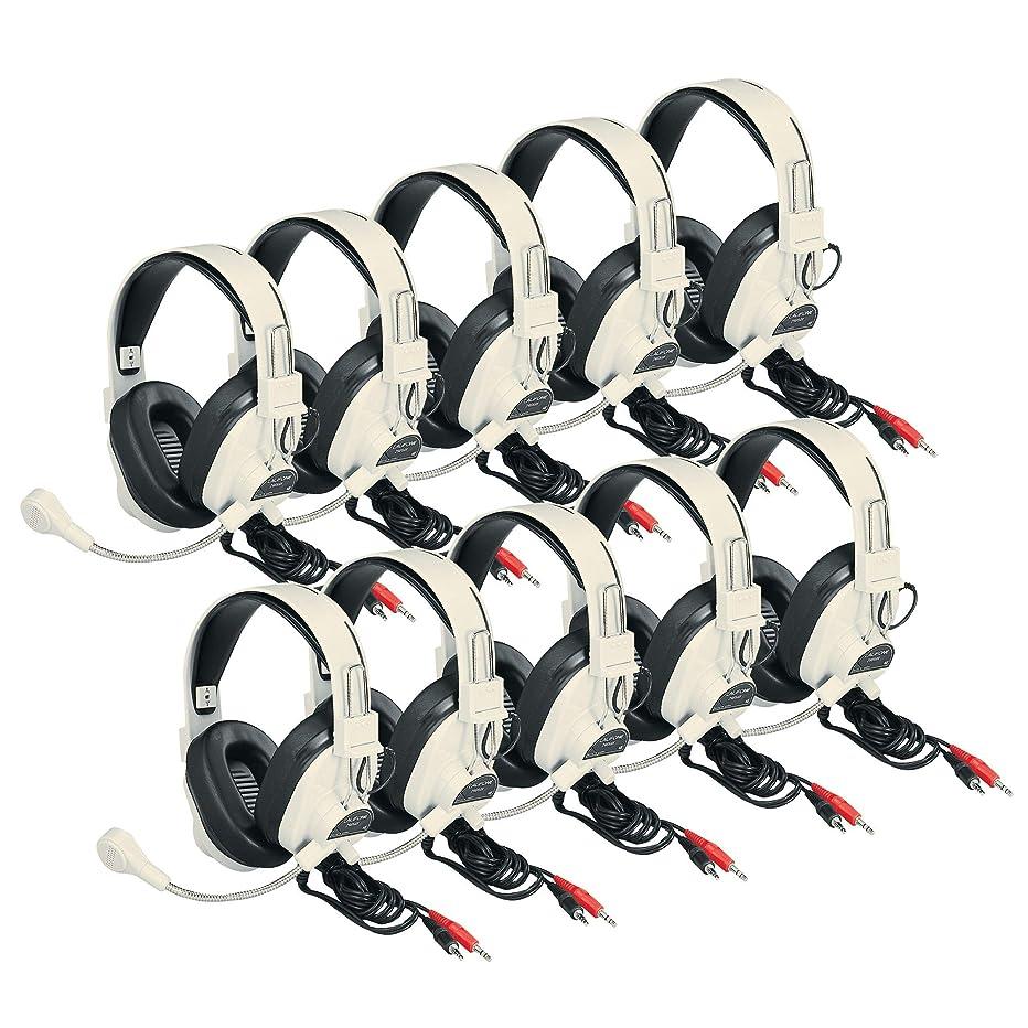 Califone 3066AV-10L 3066AV-10L Deluxe Headsets with Boom Mic, Beige (Pack of 10)