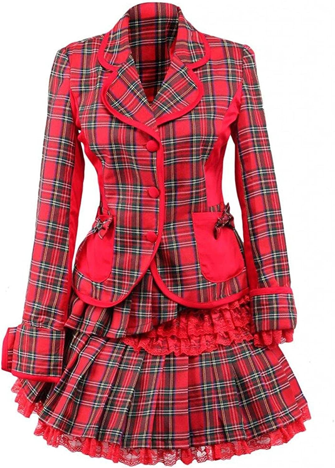 Cemavin Womens Cotton Red Gingham School Lolita Top and Skirt