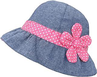 Denim Sol Sombrero Polka Flores Magenta Niñas y Bebé Algodón Sombrero de Pescador Verano UV Protección Gorro Playa, 0-4 años