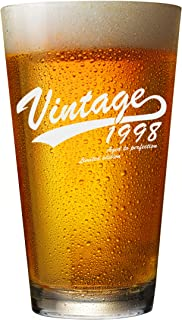 1998 21st Birthday Gifts for Men and Women Beer Glass - Funny Vintage Gift Ideas for Him or Her. Aged To Perfection for Dad, Husband, Wife, Mom - 16oz Bourbon Scotch Tumbler